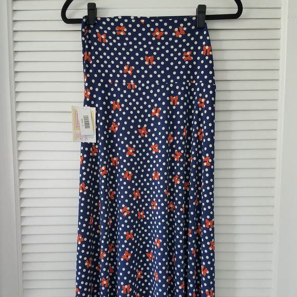 LuLaRoe Dresses & Skirts - Maxi Dresses-Navy/Off White/Orange